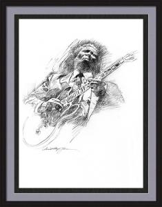 B B KING and LUCILLE a drawing by David Lloyd Glover