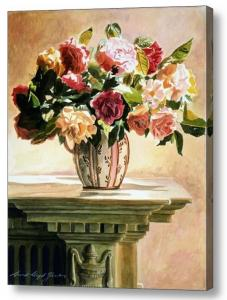 Mantlepiece Roses Sells as a canvas print