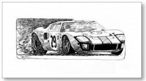 A Ford GT 40 Drawing Sells